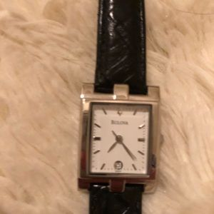 Bulova thin black leather watch